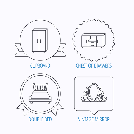 cosy: Double bed, vintage mirror and cupboard icons. Chest of drawers linear sign. Award medal, star label and speech bubble designs. Vector
