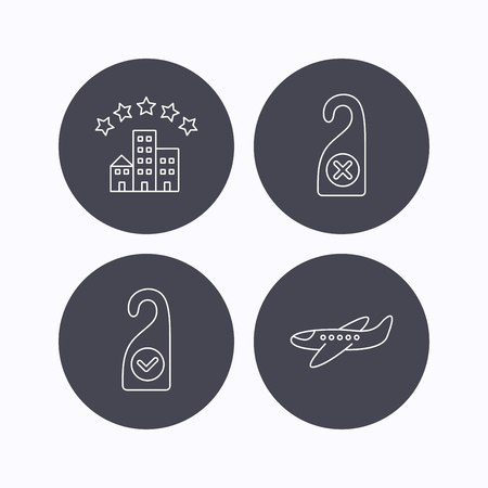 5 door: Hotel, airplane and clean room icons. Do not disturb linear sign. Flat icons in circle buttons on white background. Vector