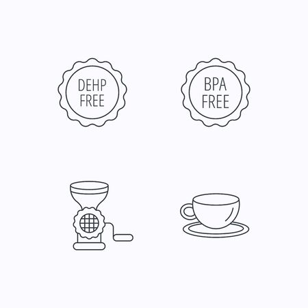 bpa: Coffee cup, meat grinder and BPA free icons. DEHP free linear sign. Flat linear icons on white background. Vector