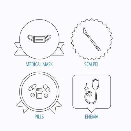 enema: Medical mask, pills and scalpel icons. Enema linear sign. Award medal, star label and speech bubble designs. Vector
