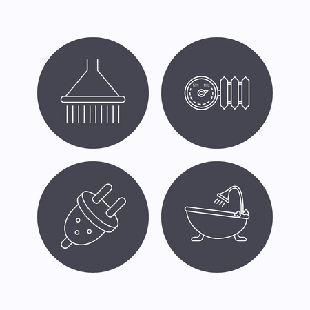 gas radiator: Shower, bath and electric plug icons. Radiator with regulator linear sign. Flat icons in circle buttons on white background. Vector