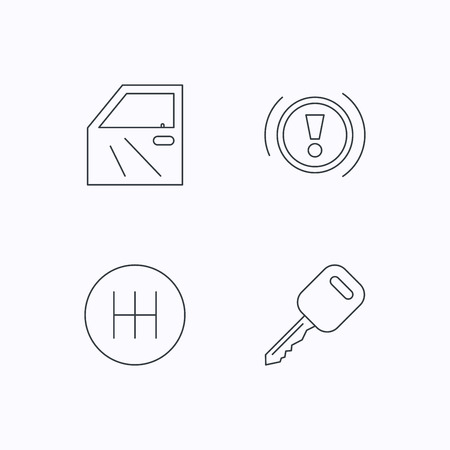gearbox: Car key, warning and manual gearbox icons. Car door, transmission linear signs. Flat linear icons on white background. Vector