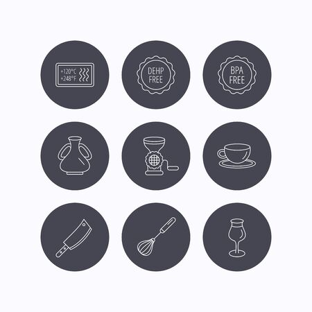 butcher knife: Coffee cup, butcher knife and wineglass icons. Meat grinder, whisk and vase linear signs. Heat-resistant, DEHP and BPA free icons. Flat icons in circle buttons on white background. Vector