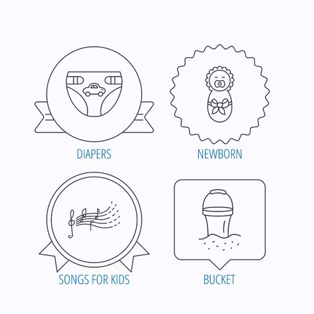 beach bucket: Diapers, newborn baby and songs for kids icons. Beach bucket linear sign. Award medal, star label and speech bubble designs. Vector