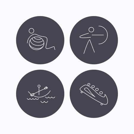 black white kayak: Gymnastics, boating and archery icons. Bobsled linear sign. Flat icons in circle buttons on white background. Vector Illustration