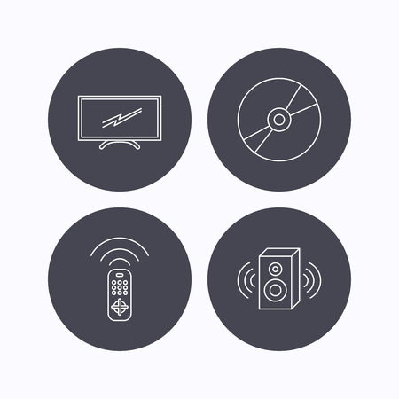 tv remote: TV remote, sound and DVD disc icons. Widescreen TV linear sign. Flat icons in circle buttons on white background. Vector