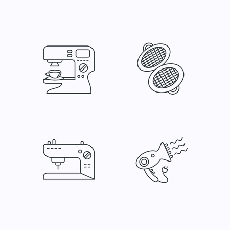 sign maker: Coffee maker, sewing machine and hairdryer icons. Waffle-iron linear sign. Flat linear icons on white background. Vector Illustration