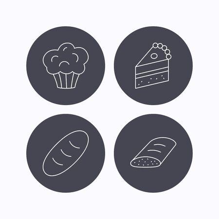 porcion de pastel: muffins dulces, pasteles y pan iconos. Pedazo de torta de se�al lineal. iconos planos de botones de c�rculo sobre fondo blanco. Vector
