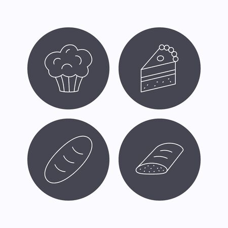 trozo de pastel: Sweet muffin, cake and bread icons. Piece of cake linear sign. Flat icons in circle buttons on white background. Vector