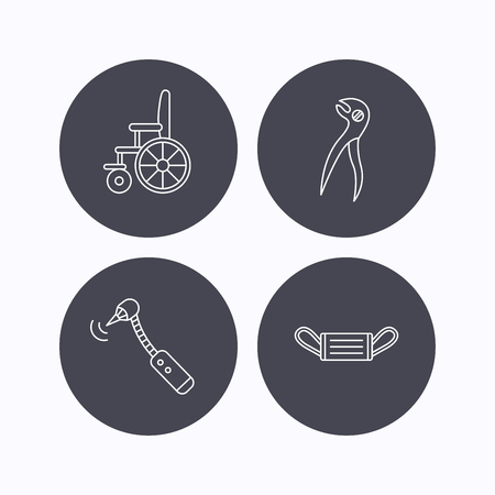 medicine wheel: Medical mask, wheelchair and dental pliers icons. Drilling tool linear sign. Flat icons in circle buttons on white background. Vector Illustration