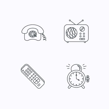 clock radio: Retro phone, radio and TV remote icons. Alarm clock linear sign. Flat linear icons on white background. Vector
