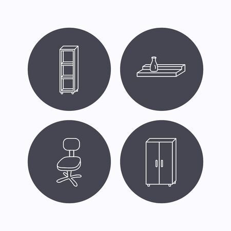 shelving: Office chair, cupboard and shelving icons. Wall shelf linear sign. Flat icons in circle buttons on white background. Vector