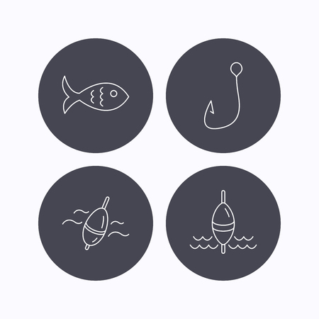 fishery: Fishing hook and float icons. Fish linear sign. Flat icons in circle buttons on white background. Vector Illustration