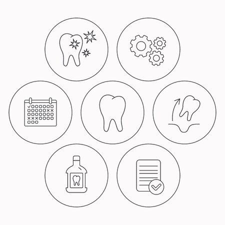 enjuague bucal: De dientes, enjuague bucal y dientes sanos iconos. La extracci�n del diente se�al lineal. Comprobador de archivo, calendario y los iconos de la rueda dentada. Vector