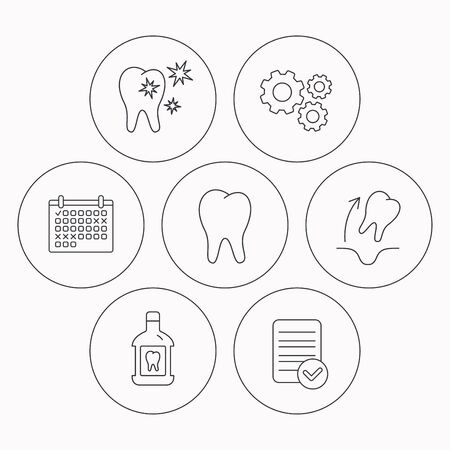 paradontosis: Tooth, mouthwash and healthy teeth icons. Tooth extraction linear sign. Check file, calendar and cogwheel icons. Vector Illustration