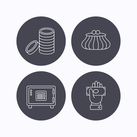 give money: Give money, cash money and wallet icons. Safe box, coins linear signs. Flat icons in circle buttons on white background. Vector Illustration