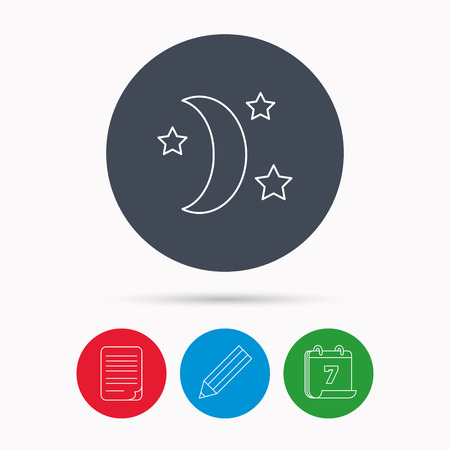 date night: Night or sleep icon. Moon and stars sign. Crescent astronomy symbol. Calendar, pencil or edit and document file signs. Vector Illustration