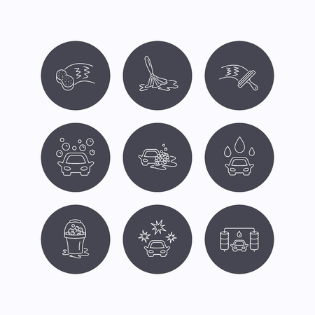 washing windows: Car wash icons. Automatic cleaning station linear signs. Washing windows, sponge and foam bucket flat line icons. Flat icons in circle buttons on white background. Vector