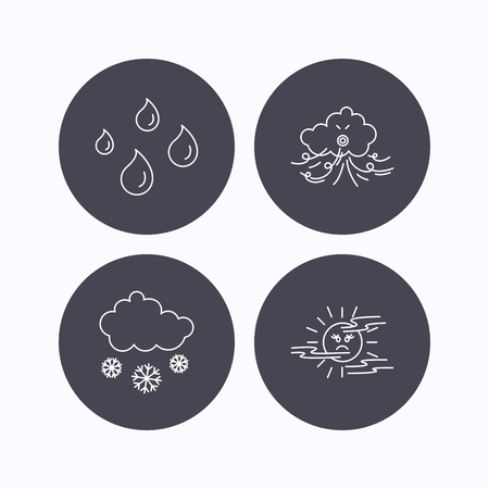 mist: Weather, snow and rain icons. Water drops and mist linear signs. Flat icons in circle buttons on white background. Vector
