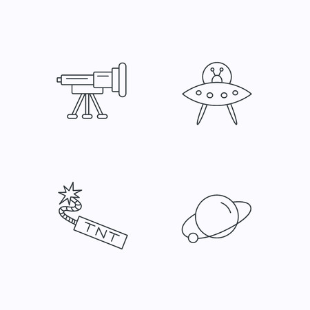 tnt: Ufo, planet and telescope icons. TNT dynamite linear sign. Flat linear icons on white background. Vector Illustration
