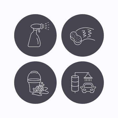 operated: Car wash icons. Automatic cleaning station linear signs. Bucket with foam bubbles, sponge and spray flat line icons. Flat icons in circle buttons on white background. Vector