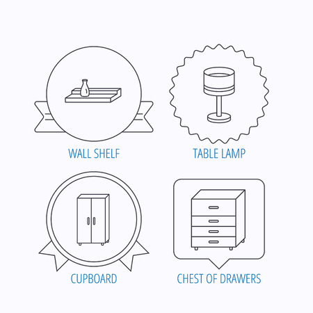 chest wall: Table lamp, cupboard and wall shelf icons. Chest of drawers linear sign. Award medal, star label and speech bubble designs. Vector Illustration
