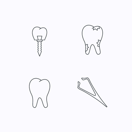 tweezers: Dental implant, caries and tooth icons. Tweezers linear sign. Flat linear icons on white background. Vector
