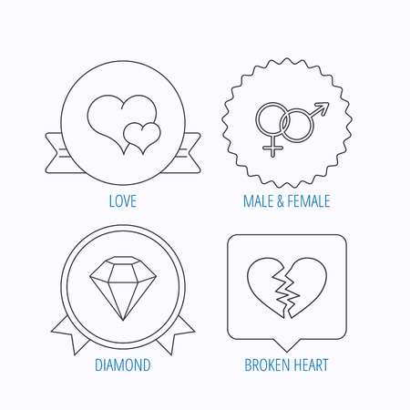 brilliant heart: Love heart, brilliant diamond and male, female icons. Broken heart or divorce linear sign. Award medal, star label and speech bubble designs. Vector Illustration