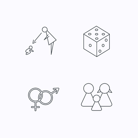 fiscalizacion: Male, female, dice and family icons. Under supervision linear sign. Flat linear icons on white background. Vector