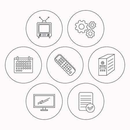 tv remote: Retro TV, monitor and pc case icons. TV remote linear sign. Check file, calendar and cogwheel icons. Vector