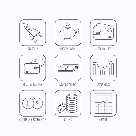 deceleration: Piggy bank, cash money and startup rocket icons. Wallet, currency exchange and dollar usd linear signs. Chart, coins and dynamics icons. Flat linear icons in squares on white background. Vector Illustration