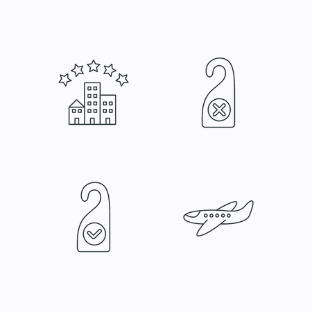 5 door: Hotel, airplane and do not disturb icons. Clean room linear sign. Flat linear icons on white background. Vector