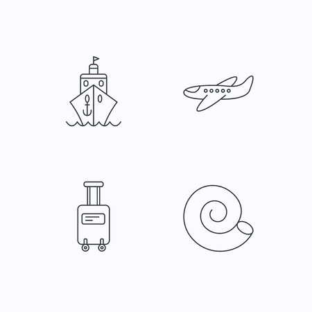 thin shell: Cruise, airplane and suitcase on wheels icons. Shell linear sign. Flat linear icons on white background. Vector Illustration
