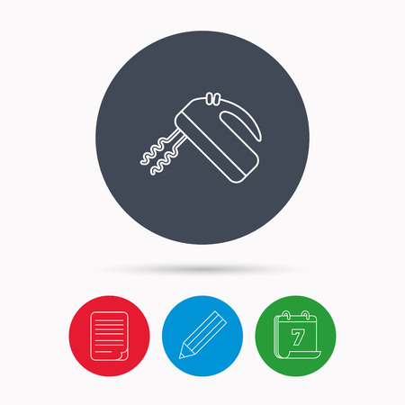 stir: Blender icon. Mixer sign. Calendar, pencil or edit and document file signs. Vector