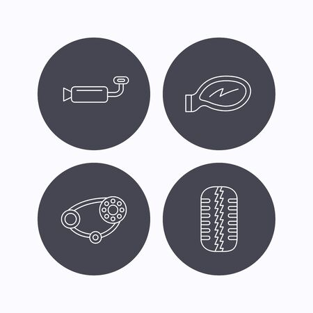 tread: Tire tread, car mirror and timing belt icons. Muffler linear sign. Flat icons in circle buttons on white background. Vector
