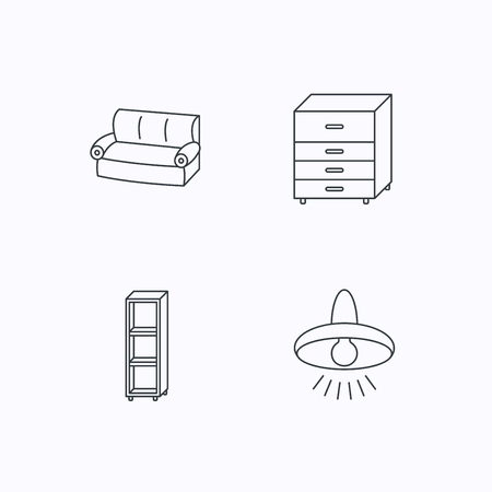 shelving: Sofa, ceiling lamp and shelving icons. Chest of drawers linear sign. Flat linear icons on white background. Vector Illustration