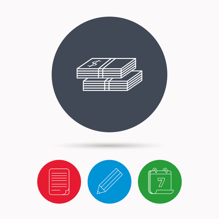 wads: Cash icon. Dollar money sign. USD currency symbol. 2 wads of money. Calendar, pencil or edit and document file signs. Vector Illustration