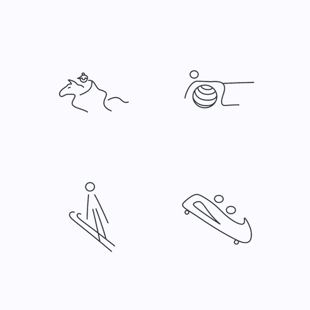 bobsled: Pilates, bobsled and horseback riding icons. Ski jumping linear sign. Flat linear icons on white background. Vector