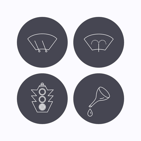 wiper: Motor oil change, traffic lights and wiper icons. Washing window, windscreen wiper linear signs. Flat icons in circle buttons on white background. Vector