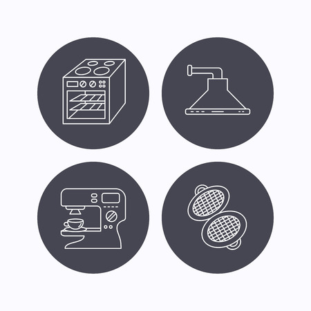 sign maker: Waffle-iron, coffee maker and oven icons. Kitchen hood linear sign. Flat icons in circle buttons on white background. Vector