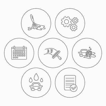 washing windows: Car wash icons. Automatic cleaning station linear signs. Washing windows, wet cleaning and foam bucket flat line icons. Check file, calendar and cogwheel icons. Vector