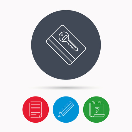 room card: Electronic key icon. Hotel room card sign. Unlock chip symbol. Calendar, pencil or edit and document file signs. Vector Illustration