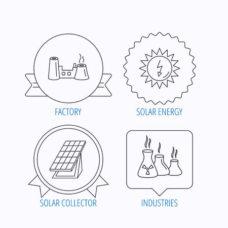 solar collector: Solar collector energy, factory and industries icons. Solar energy linear signs. Award medal, star label and speech bubble designs. Vector