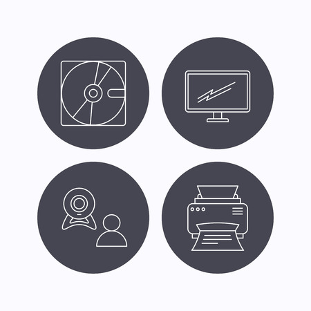 portative: Monitor, printer and video chat icons. Hard disk linear sign. Flat icons in circle buttons on white background. Vector