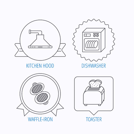 bread maker: Dishwasher, waffle-iron and toaster icons. Kitchen hood linear sign. Award medal, star label and speech bubble designs. Vector Illustration