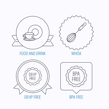 bpa: Food and drink, whisk and BPA free icons. DEHP free linear sign. Award medal, star label and speech bubble designs. Vector