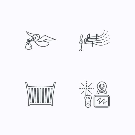 songs: Baby monitor, crib bed and songs for kids icons. Stork and sack linear sign. Flat linear icons on white background. Vector