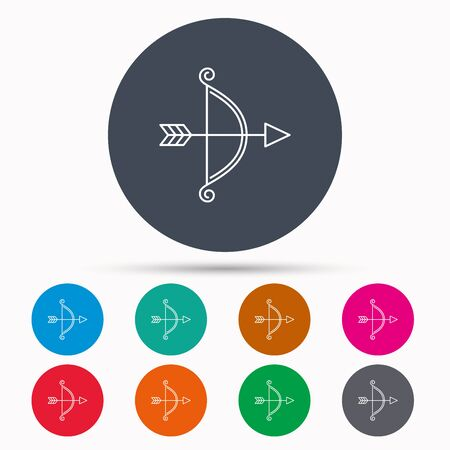 bowstring: Bow with arrow icon. Valentine weapon sign. Icons in colour circle buttons. Vector