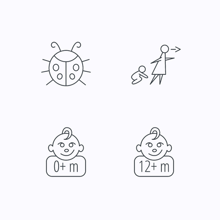 unattended: Infant child, ladybug and 0+ months child icons. Unattended child linear sign. Flat linear icons on white background. Vector