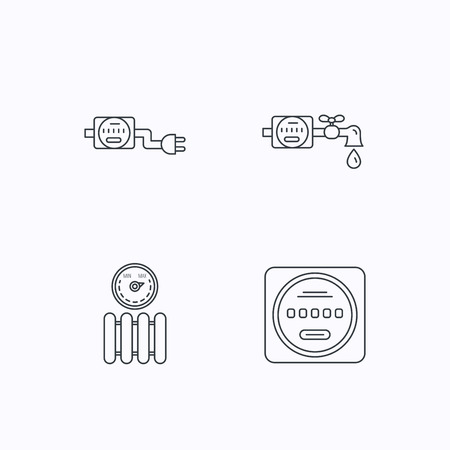 sewerage: Electricity, radiator and water counter icons. Counter linear sign. Flat linear icons on white background. Vector